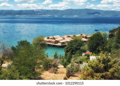 Plocha Michov Grad, Republic of Macedonia - July 25th, 2017: The Museum on Water, Plocha Michov Grad, on Lake Ohrid in Macedonia. - Shutterstock ID 1012290115