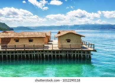 Plocha Michov Grad, Republic of Macedonia - July 25th, 2017: The Museum on Water, Plocha Michov Grad, on Lake Ohrid in Macedonia.
