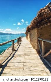Plocha Michov Grad, Republic of Macedonia - July 25th, 2017: The Museum on Water, Plocha Michov Grad, on Lake Ohrid in Macedonia. - Shutterstock ID 1012290121