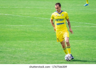 PLOCK, POLAND - 20 JUNE, 2020: Davit Skhirtladze of Arka Gdynia seen in action during the PKO Ekstraklasa match between Wisla Plock and Arka Gdynia.