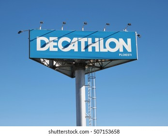 PLOIESTI, ROMANIA - OCTOBER 30, 2016. Decathlon logo near the store entrance in Ploiesti city.Decathlon is one of the world's largest sporting goods retailers with more than 850 stores in 22 countries