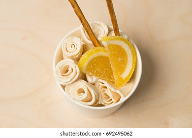 plombir, ice cream, ice roll, selective focus and small depth of field