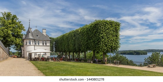 PLON, GERMANY - JUNE 24, 2019: Panorama of the restaurant at the castle in Plon, Germany