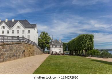 PLON, GERMANY - JUNE 24, 2019: Little restaurant at the castle in Plon, Germany