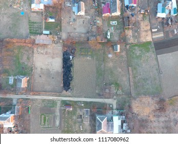 Plots of land for building. Compound and vegetable gardens. View from above