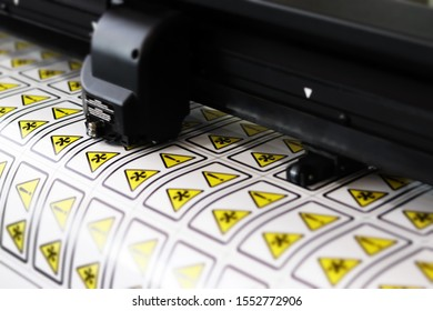 Plotter Cutting Stickers Warning Orange, Black, Summa Cutter