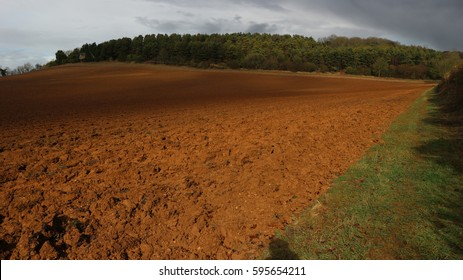 Ploughed field on sunny day with trees in background. Taken on the Cotswold Way, in the Cotswolds, Gloucestershire, England, UK