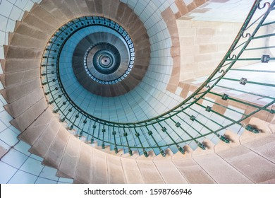 Plouguerneau, Brittany, France, august 08th 2017: View of high lighthouse blue staircase, vierge island