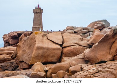 Ploumanac'h / Cote de Granit Rose / Bretagne / France - 07-24-2016: The Ploumanac'h lighthouse (officially the Mean Ruz lighthouse) is an active lighthouse located in Perros-Guirec.
