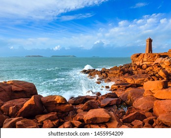 Ploumanach lighthouse evening view, Perros-Guirec, Brittany, France. The Pink Granite Coast.