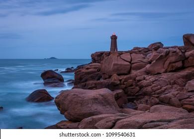 Ploumanach lighthouse, Saint-Guirec, Bretagne, France