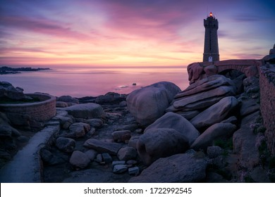 The Ploumanac'h lighthouse at sunset, Brittany, France