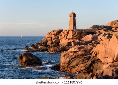 The Ploumanac'h lighthouse at sunset (officially the Mean Ruz lighthouse) is an active lighthouse in Côtes-d'Armor, France, located in Perros-Guirec.