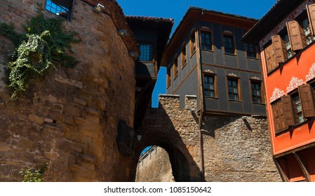 Plovdiv, Bulgaria 9 April 2018.  Typical architecture,historical medieval housesi in Plovdiv, Bulgaria. The Ethnographic Museum of Plovdiv. Ancient Plovdiv is UNESCO's World Heritage