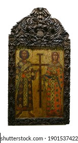 PLOVDIV, BULGARIA - APR 16, 2019 - Icon of Saints in museum in  Plovdiv, Bulgaria