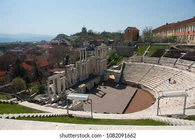 PLOVDIV, BULGARIA - April 8, 2018Steps and stage of roman amphitheater in Plovdiv, Bulgaria