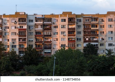 PLOVDIV, BULGARIA - AUGUST 3, 2018: Sunset view of Typical residential building from the communist period in city of Plovdiv, Bulgaria