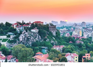Plovdiv, Bulgaria city aerial skyline panorama with Roman amphitheatre and colorful sky