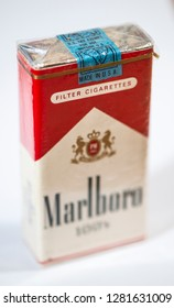 Plovdiv, Bulgaria - December 19 2018: Vintage Marlboro cigarettes 100s produced in the USA. Banderole on top of the pack.  Red package. Close shot of filter cigarettes pack. US tax exempt