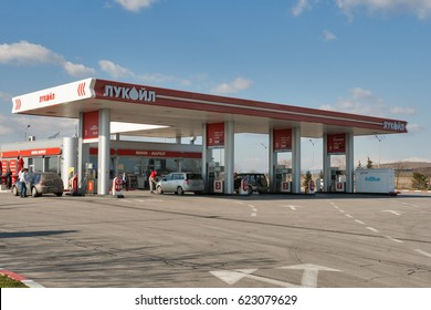 PLOVDIV, BULGARIA - FEBRUARY 11, 2015: Lukoil gas station on highway E80 close to Plovdiv. Lukoil is one of the largest global producers of oil, it is headquartered in Moscow, Russia.