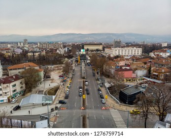 PLOVDIV, BULGARIA - JANUARY 05, 2019 - Main tower and stage for the opening event of European Capital of Culture - Plovdiv 2019. The process of building the structure on the boulevard
