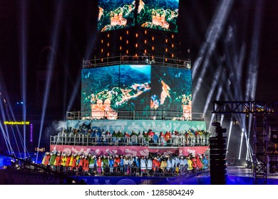 PLOVDIV, BULGARIA - JANUARY 12, 2019 - Main tower and stage at the opening show of European Capital of Culture - Plovdiv 2019, Bulgaria.