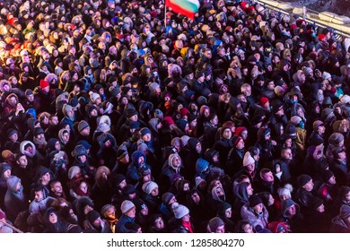 PLOVDIV, BULGARIA - JANUARY 12, 2019 - The crowd at the opening show of European Capital of Culture - Plovdiv 2019, Bulgaria.