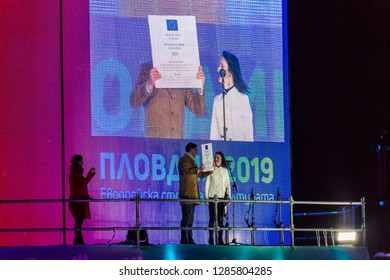 PLOVDIV, BULGARIA - JANUARY 12, 2019 - Mayer Ivan Totev and European commissioner Maryia Gabriel on stage at the opening show of European Capital of Culture - Plovdiv 2019, Bulgaria.