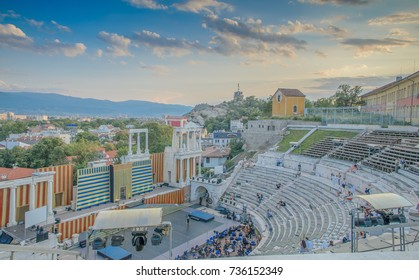 Plovdiv, Bulgaria - July 20, 2014 - Remainings of Ancient Roman theatre of Philippopolis in Plovdiv at sunset, Aerial view of the roman amphitheater, Plovdiv, Bulgaria
