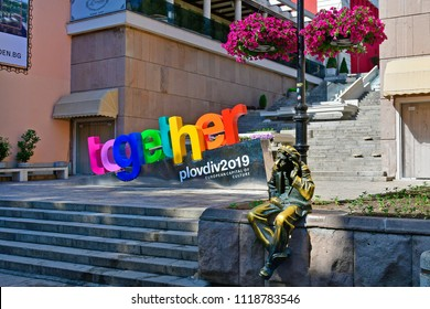 PLOVDIV; BULGARIA - JUNE 08: Statue of Miljo, a lokal prankster and mimic and official sign for becoming European Capital of Culture 2019, on June 08, 2018 in Plovdiv, Bulgaria