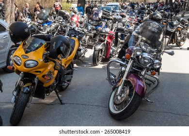 PLOVDIV, BULGARIA - MARCH 22, 2015 - Motorcycle season opening 22 March 2015. Annual motorbike fans meeting and parade.