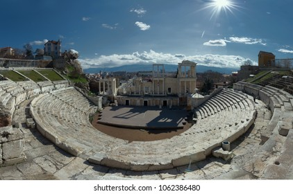 Plovdiv , Bulgaria- Mart 17, 2018 - European capital of culture 2019, view of the old city.Panorama of the  Roman theatre (Amphitheatre) in Plovdiv ( Philippopolis )