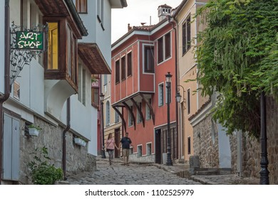 PLOVDIV, BULGARIA - MAY 24, 2018: Sunset view of House from the period of Bulgarian Revival in old town of Plovdiv, Bulgaria