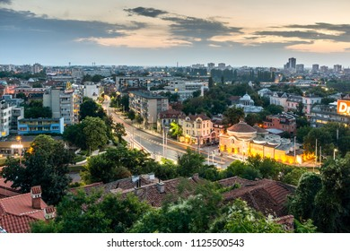 PLOVDIV, BULGARIA - MAY 24, 2018: Night Panoramic cityscape of Plovdiv city from Nebet Tepe hill, Bulgaria