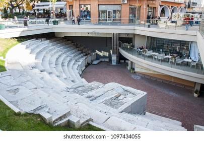 PLOVDIV, BULGARIA - NOVEMBER 09, 2015: Ruins of ancient theatre
