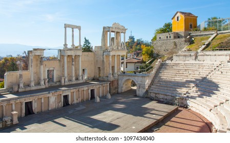 PLOVDIV, BULGARIA - NOVEMBER 09, 2015:ruins of ancient theater