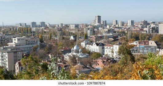 PLOVDIV, BULGARIA - NOVEMBER 09, 2016: old buikldings in historical city centre