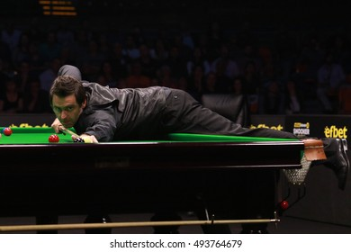 Plovdiv, Bulgaria - October 1: Ronnie O'??Sullivan participates in snooker show The Eleven 30 Series 2016 against Mark Selby in Kolodruma sports hall, Plovdiv