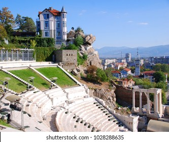 PLOVDIV, BULGARIA SEPT 21 13: House on the hill and part of the ancient amphitheater in Plovdiv, Bulgaria