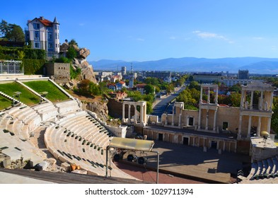 PLOVDIV, BULGARIA SEPT 21 13: The ancient theatre of Philippopolis is a historical building in the city center of Plovdiv (ancient Philippopolis), Bulgaria.