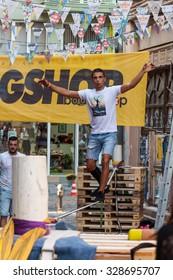 PLOVDIV, BULGARIA - SEPTEMBER 19, 2015 - Kapana street festival in Plovdiv, Bulgaria. The festival includes activities like graffiti painting, retro car parade, street dancing, sports and many more.