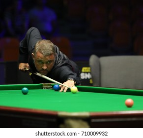 Plovdiv, Bulgaria - September 5, 2017: Stephen Hendry participates in snooker show The Eleven 30 Series 2017 against Ronnie O'Sullivan in Kolodruma sports hall, Plovdiv