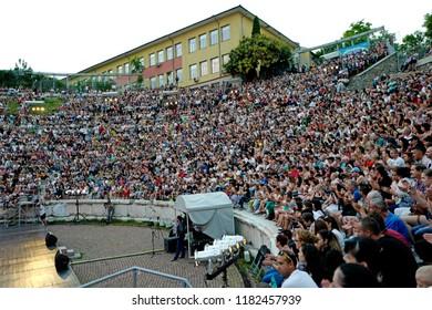 PLOVDIV, BULGARIA-AUGUST 03, 2018: international folk music festival on the ancient Roman theater, in Plovdiv.