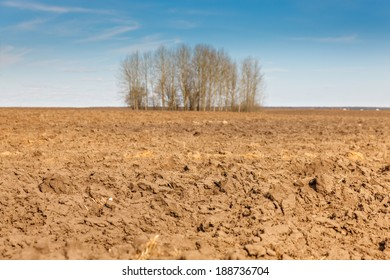 plowed agricultural field on a background of blue sky