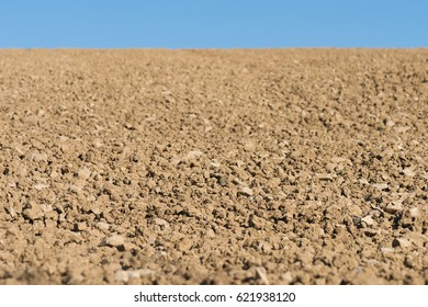 Plowed and cultivated field in spring time. Selective focus.