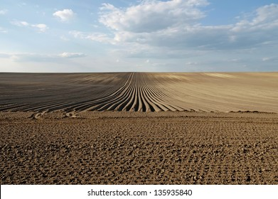 Plowed field after ploughing with furrows