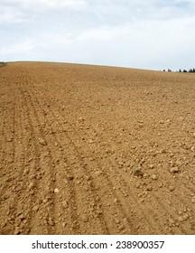 Plowed Field Background. Beskids Mountains, Poland.