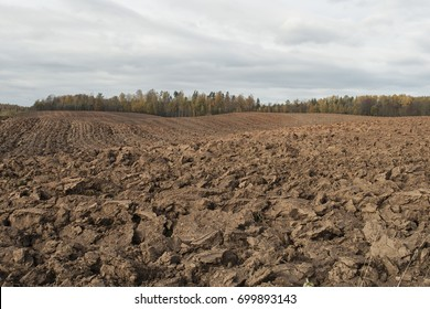 Plowed field in cloudy autumn day