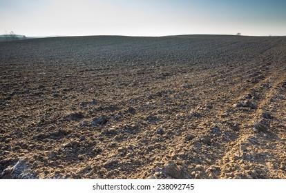plowed field under blue sky