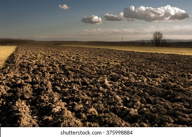 Plowed field at winter time
